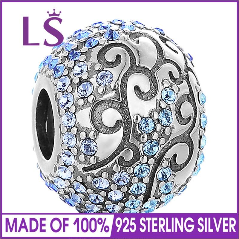 LS Austrian Clear Crystal 925 Sterling Silver Cubic Zirconia Round Bead Charm fit European Bracelets DIY Fashion jewelry