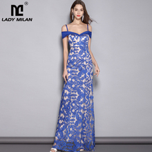 2019 Womens Spaghetti Straps Sexy Off the Shoulder Embroidery Lace Party Prom Elegant Long Runway Dresses