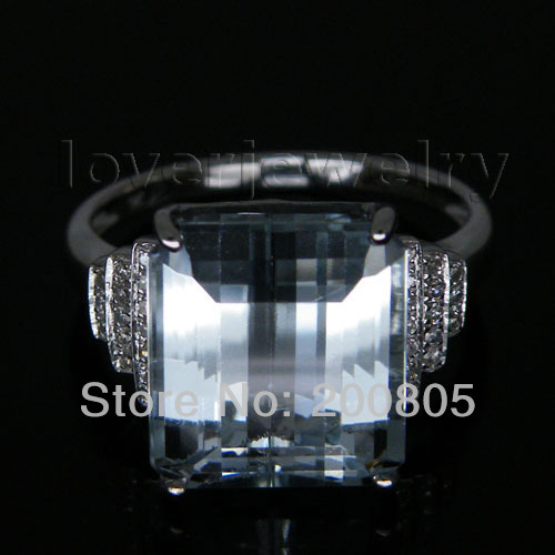Vintage Emerald Cut Natural Diamond Topaz Ring Solid 14Kt White Gold 10x12mm R00322