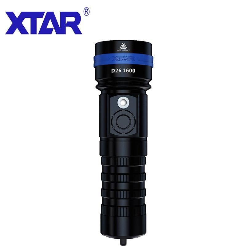XTAR lampe de poche LED étanche IPX8 D26-1600 lampe de poche de plongée Distance maximale 432M 4 Modes de commutation 100 mètre de profondeur lampe de poche de plongée