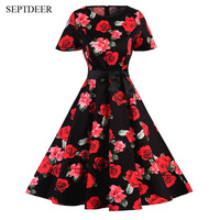 SEPTDEER Vintage High Quality Dresses Floral Style Rockabilly Cocktail Party Swing Ladies Summer Clothes MSF142