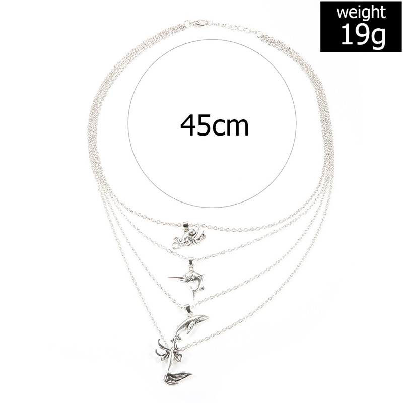 Bohemian Fashion Memaid Pendant Multi Layer Fish Female Necklace Color Stone Silver Color Choker Trend Party Jewelry New in Choker Necklaces from Jewelry Accessories
