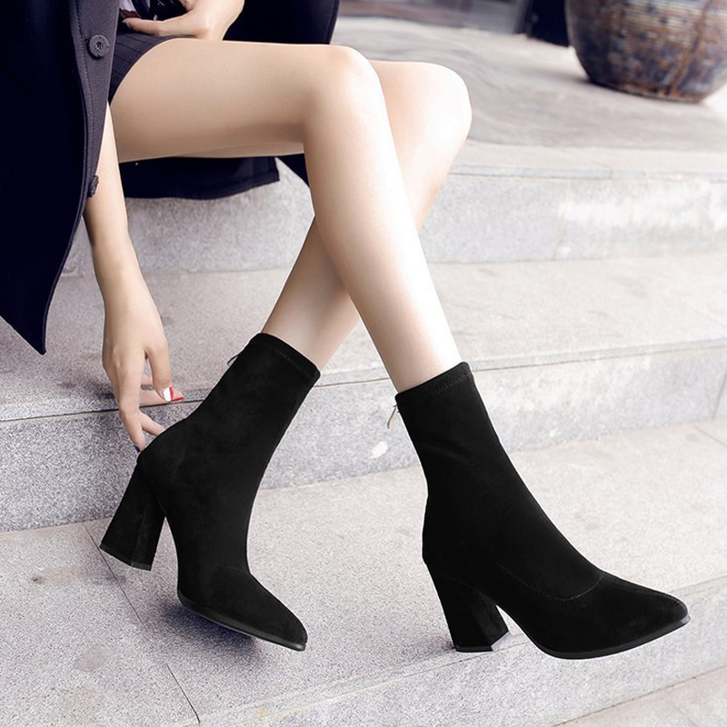 Socks Boots Chunky Pointed-Toe Elastic Black Autumn Winter Women's Fashion Knit Ankle