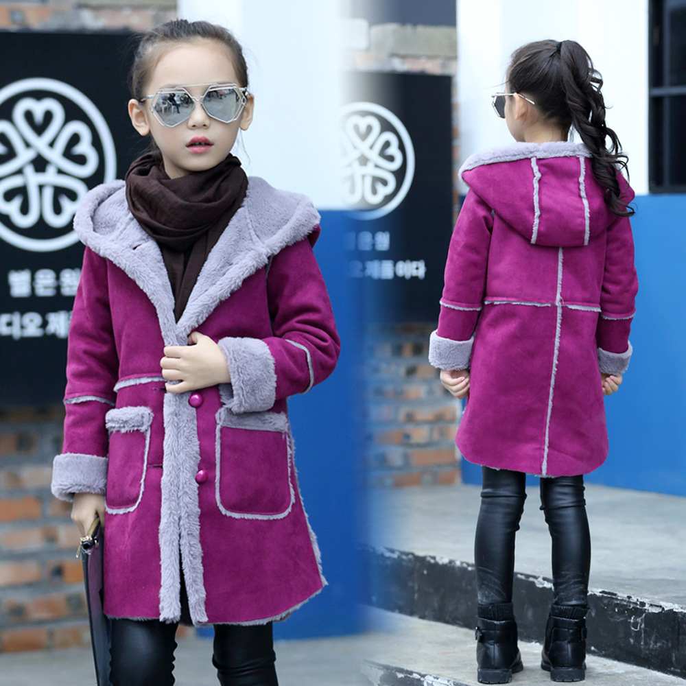 Red Pink Purple Children Hooded Jacket Casaco Infantil Menina Hot Girls Winter Warm Coat Polyester Suede Soft Kids Outerwear