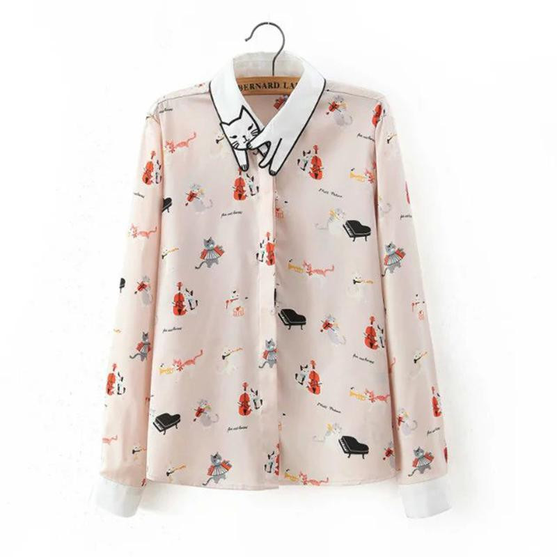 Musical Cat Embroidered Collar Long Sleeved Blouse
