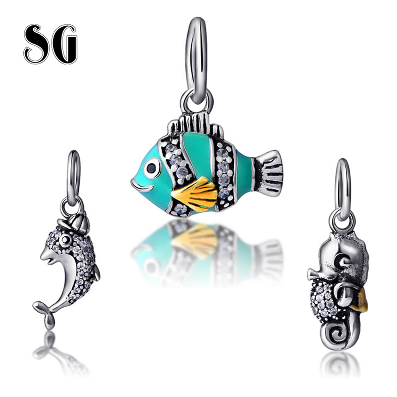 High quality Cute Fish with color marine animal Beads Fit Authentic pandora charms silver 925 original Jewelry for women gifts