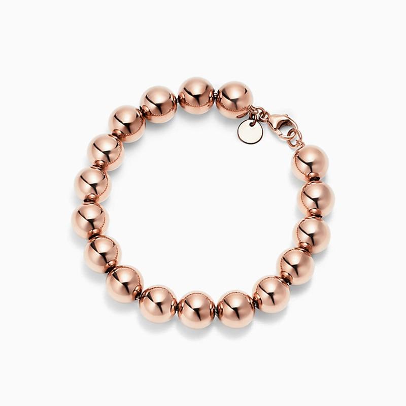 SHINETUNG Original 100% S925 argent Sterling couleur or Rose perlé Bracelet à la mode femmes Logo luxe bijoux haut de gamme