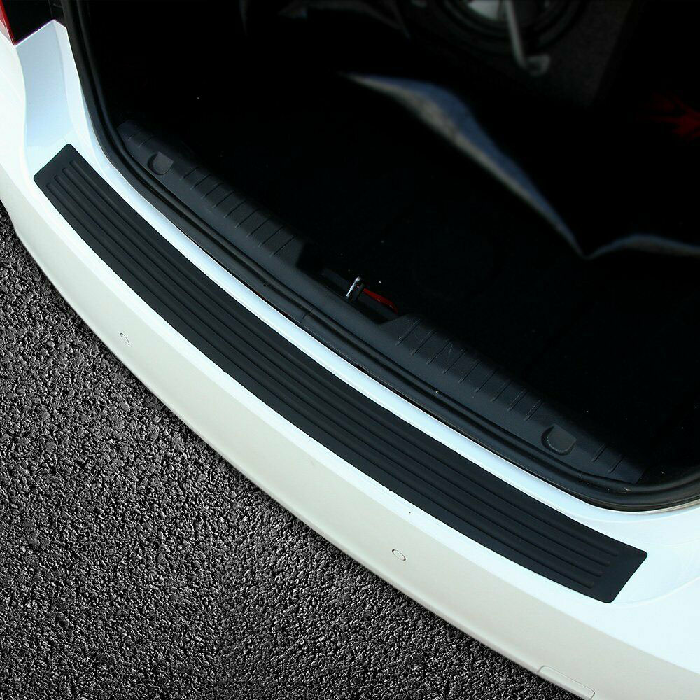 90cmx8cm Car Truck Rear Bumper Scratch bar Universal Car Black Rear Bumper Sill Protector Plate Rubber Cover Guard Trim Pad