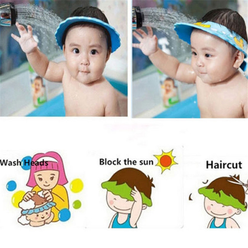 Adjustable Baby Shower Hat Toddler Kids Shampoo Bathing Shower Cap Wash Hair Shield Direct Visor Caps for Baby Care 1pc