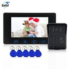 Saful проводной 7 »ЖК-дисплей RFID пароль видео-телефон двери разблокировки видеодомофон дверь камеры Водонепроницаемый с брелки доступ управление