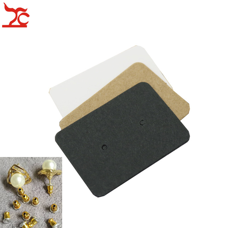 100Pc Blank Kraft Paper Ear Studs Card Jewelry Display Earring Card DIY Favor Price Label Tag Packing Hang Tag White Black Brown