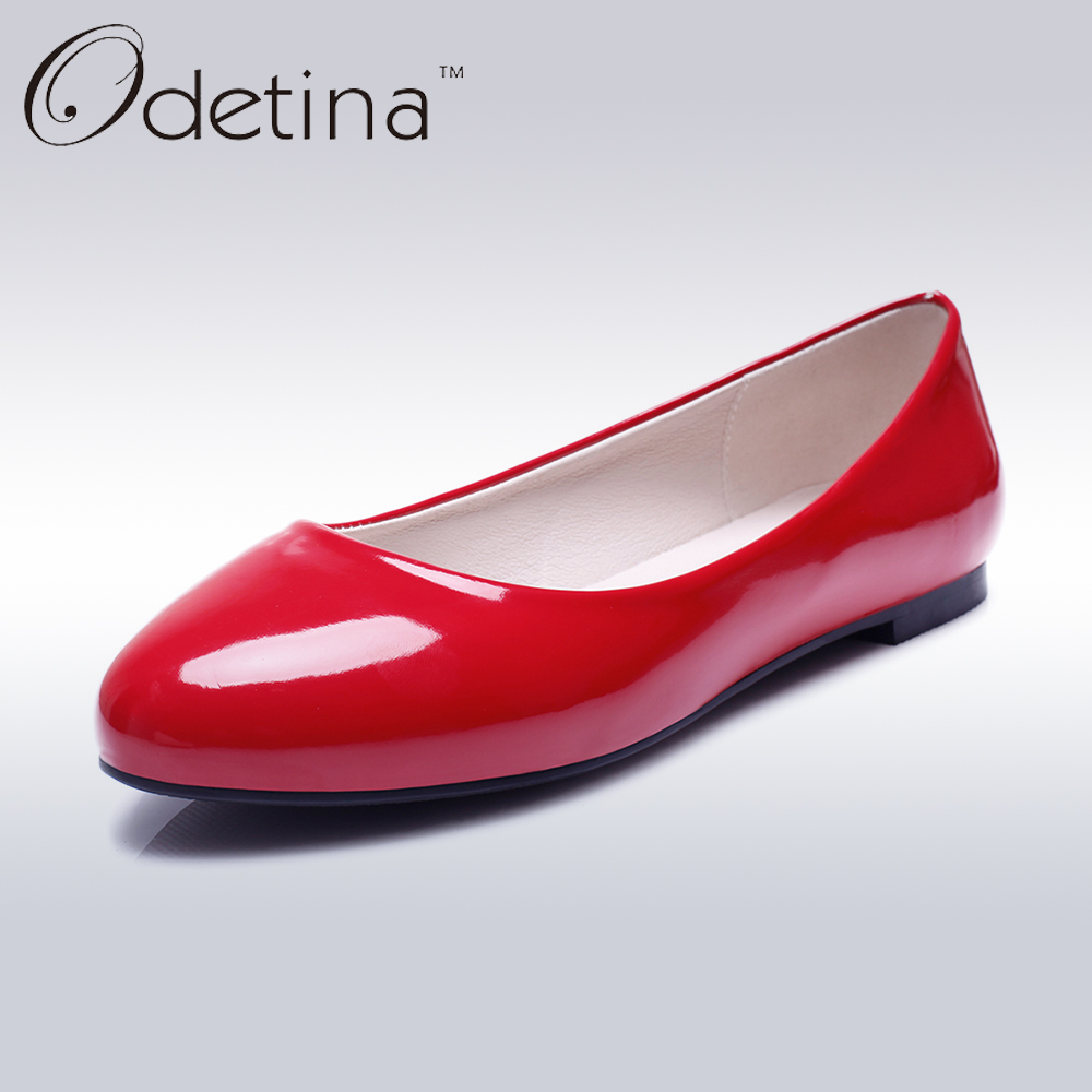 Odetina Fashion Ladies Summer Shoes Ballet Flats Women Flat Slip On Ballerinas Patent Leather Shallow Mouth Shoes Big Size 32-52 2016 new fashion camellia women genuine full grain leather flat heel single shoes ladies working leather flowers ballet flats