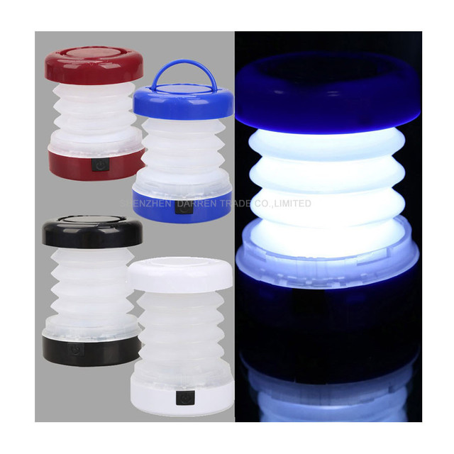 50pcs/lot 5 LED Portable Scalable Mini Tent Light Waterproof Outdoor Camping Lantern Multicolor Battery Camp Light H1E1