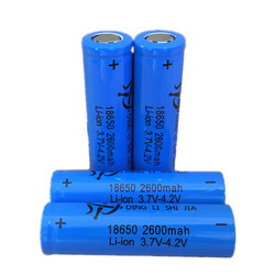 4pcs p18650 Rechargeable battery 3.7v 2600mah Flat head Lithium Battery For 4.2v Flashlight batteries Small fan battery