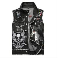 2019 Mens Punk Denim Vests Black Skull Embroidery Denim Waistcoat Slim Fit Fashion Jeans Sleeveless Jacket Male Vest Tops J2868