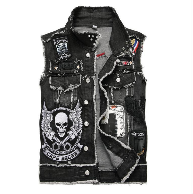 2020 Mens Punk Denim Vests Black Skull Embroidery Denim Waistcoat Slim Fit Fashion Jeans Sleeveless Jacket Male Vest Tops  J2868