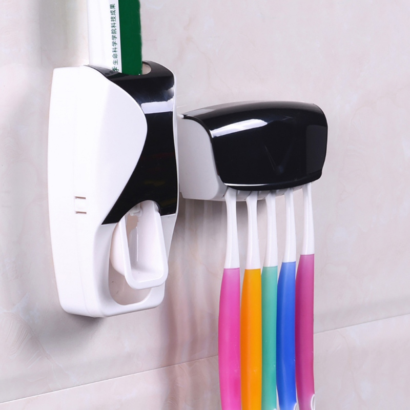 Bathroom Products Wall Mount Rack Bath Set Toothpaste Squeezers Automatic Toothpaste Dispenser Toothbrush Holder W1