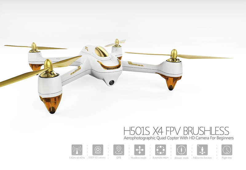 Hubsan H501S RTF X4 PRO 5.8G GPS FPV Drone Brushless Follow Me Mode Quadcopter 1080P HD Camera RC Airplane Black Color F19687