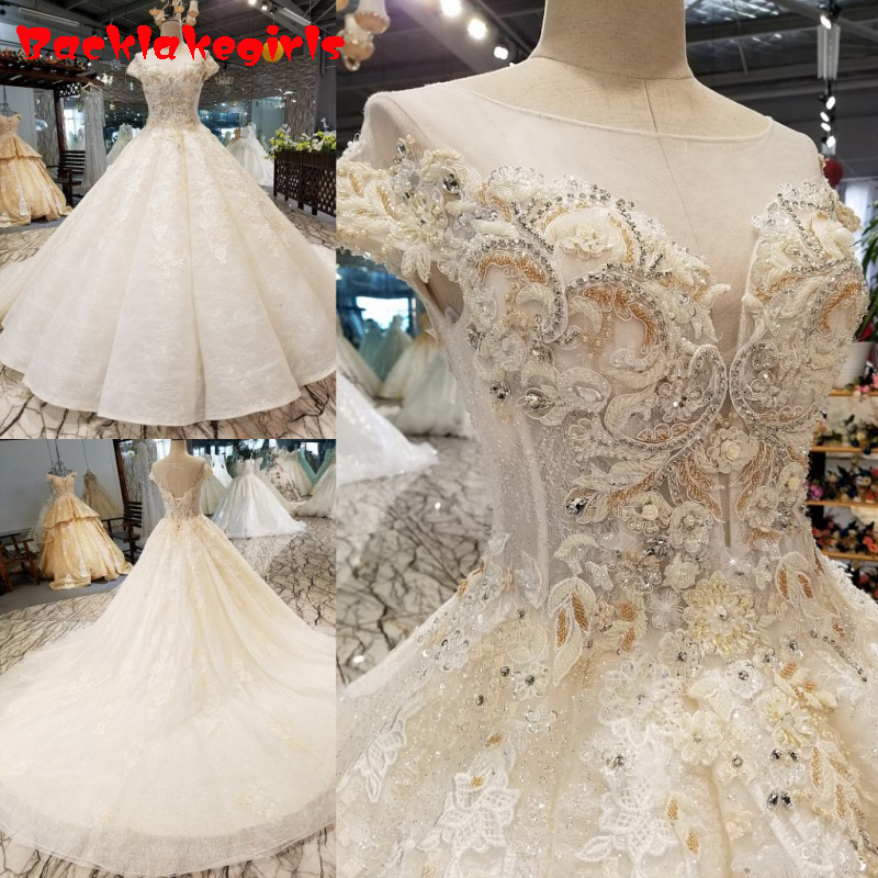 Us 483 75 07314 New Luxury Diamond Pearls Y Wedding Dresses 2018 Princess Style High End Sleeveless Fashion Bridal Gowns Dress In