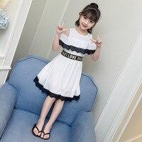 男の子女の子のドレス夏女の子ストラップレスのシフォンドレスレースステッチ王女で韓