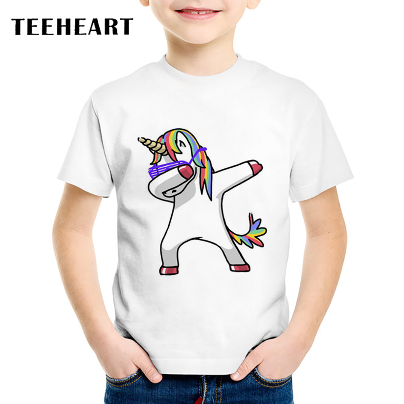 TEEHEART Dabbing Unicorn T-shirt Children 2017 Summer Boys/girls Fashion Tops Tee Shirts Casual Short Sleeve T shirt TA787