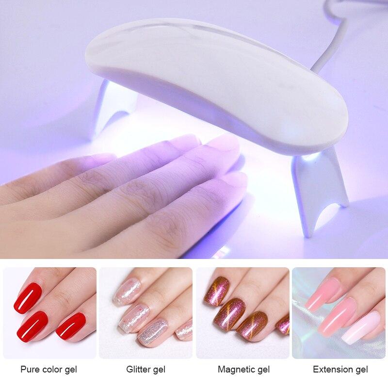 6W White UV LED Lamp Nail Dryer Portable Micro USB Cable Home Use Nail Gel Polish Dryer Machine Mini USB Lamp Nail Tool