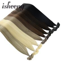 "Isheeny 50pc 100pc Fusion Nail/U Tip Hair Extensions 14"" 18"" 22"" Remy Keratin European Human Hair On Capsule(China)"
