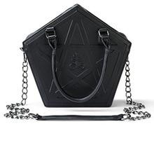 JIEROTYX Pentagram Punk Darkness Gothic Star Handbag Women Girl Black PU Soft Leather Shoulder Bag With Chain High Quality