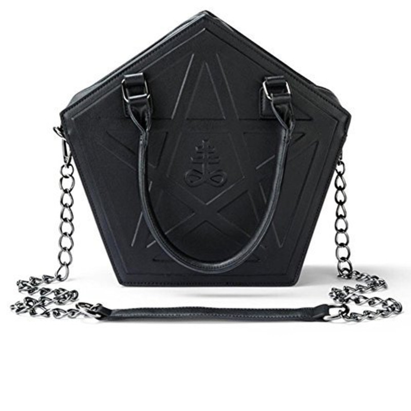 JIEROTYX Pentagram Punk obscurité gothique étoile sac à main femmes fille noir PU sac à bandoulière en cuir souple avec chaîne de haute qualité