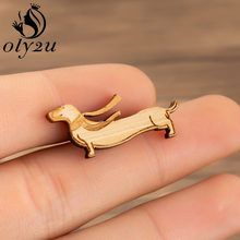 Oly2u Animal Dog Brooches Pins for Women Accessories Wood Dachshund Brooch Collar Scarf Pin Female Jewelry Alloy Metal Gifts(China)