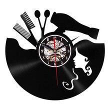 1 шт. Виниловая пластинка 3D настенные часы современный дизайн настенные часы Парикмахерская Настенный декор для салона красоты шкала зрение