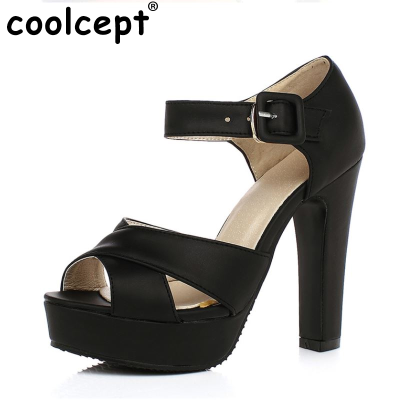 Women's High Heel Sandals Peep Toe Ankle Strap Thick Heel Sandals Platform Ladies Shoes Women Brand Footwear Mujer size 32-43 women sandals new summer peep toe ankle strap thick high heel sandals platform high quality casual fashion shoes size 31 43