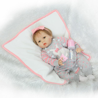 22 Baby Doll Reborn Toys Soft Cloth Body Silicone Reborn Babies Grey Clothing Full Sets Girl