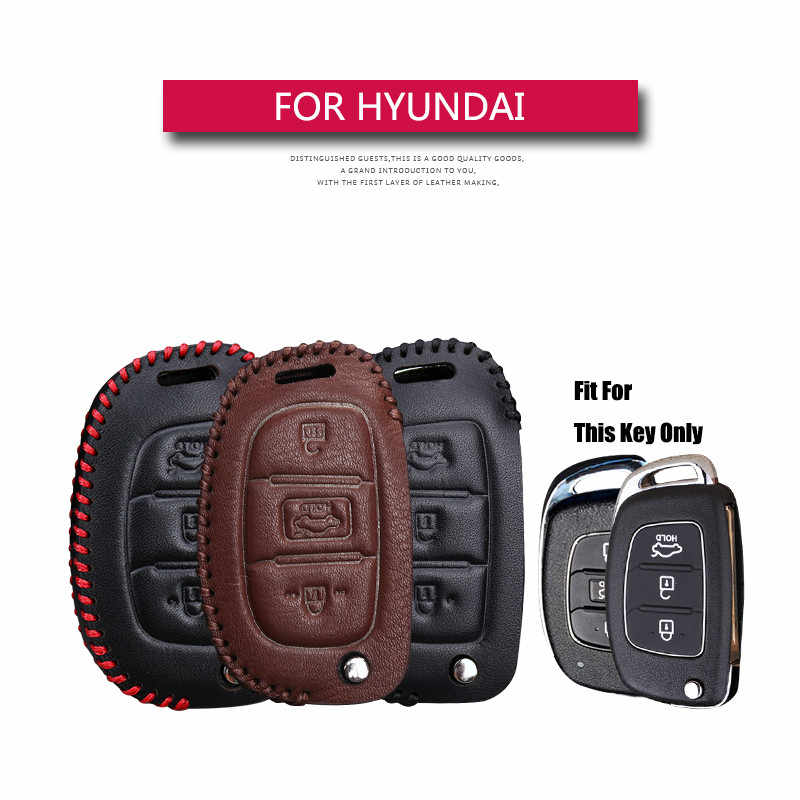 Coche de cuero genuino carcasa para mando a distancia set de fundas llavero para Hyundai Creta ix25 I10 I20 i30 Tucson Elantra Santa Fe