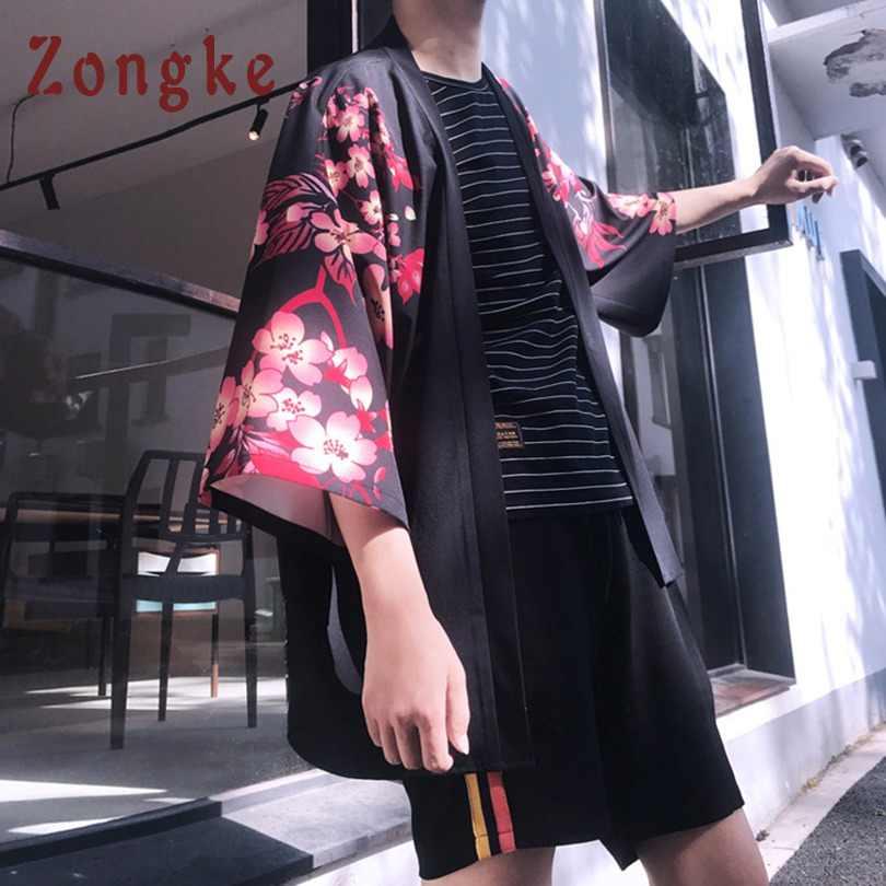 Zongke Floral Kimono Cardigan hommes longue carpe et cerise imprimé Kimono Cardigan hommes japonais Kimono traditionnel hommes 2018 été nouveau