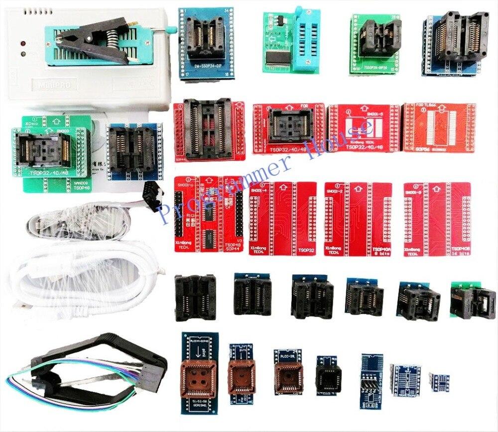 Completo v9.00 tl866ii plus tl866a tl866cs usb universal programador bios/ecu programador + 31 adaptadores 1.8 v nand08 flash 24 93 25 mcu