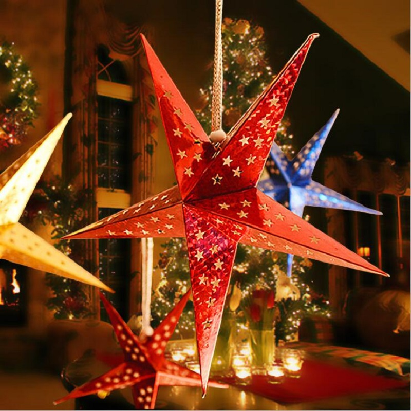 1 шт. 30 см полые Бумага Star Chriatmas падение Украшения для Рождество дерево украшение дома вечеринки украшения для Xmas Новый год
