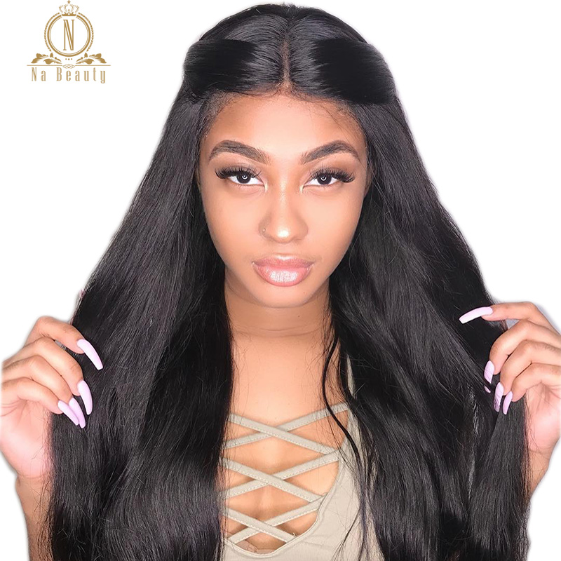 Nabeauty Glueless Full Lace Wig Straight 13x6 Lace Front Human Hair Wigs Brazilian Remy Hair Pre Plucked For Women Black 150%