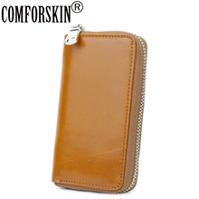 COMFORSKIN Premium 100% Genuine Oil Wax Leather Retro Key Wallet New Arrivals Cowhide Housekeepers Factory Price On Sales