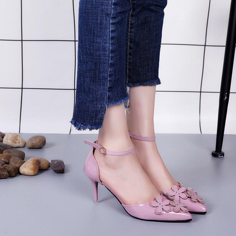 2018 Talons Sandales De S544 Femmes Partie Haute D'été Noir Pointu rose Bout Femme gris Mariage Chaussures rCqrPTw