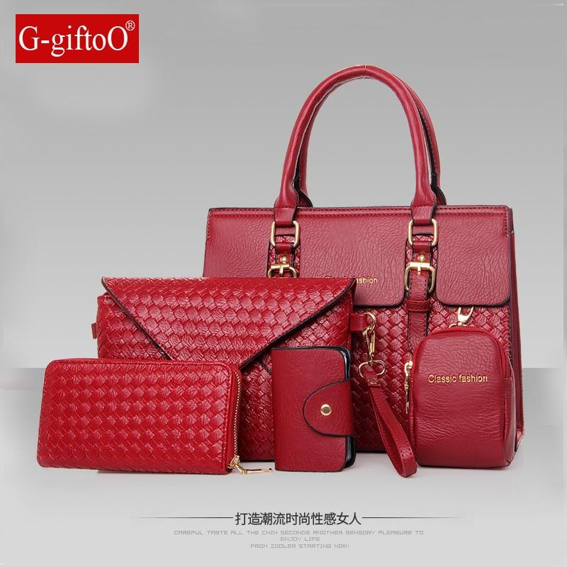 New fashion woven patent leather six-piece bag mother bag shoulder portable diagonal bales