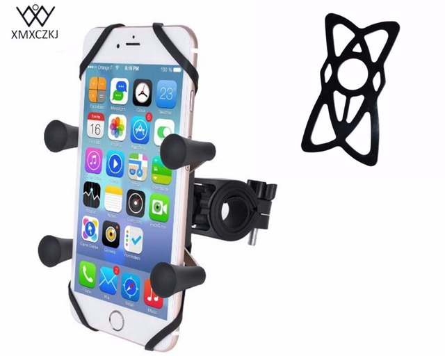 Bike Handlebar Rail Mount with U-Bolt Base and Universal X-Grip Cell Phone Bicycle motorcycle mount Holder With security Bands