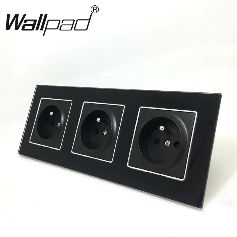 French Socket CE Wallpad Luxury Black Crystal Glass EU Standard Triple Frame 16A Plug EU French Wall Socket with Claws MountingFrench Socket CE Wallpad Luxury Black Crystal Glass EU Standard Triple Frame 16A Plug EU French Wall Socket with Claws Mounting