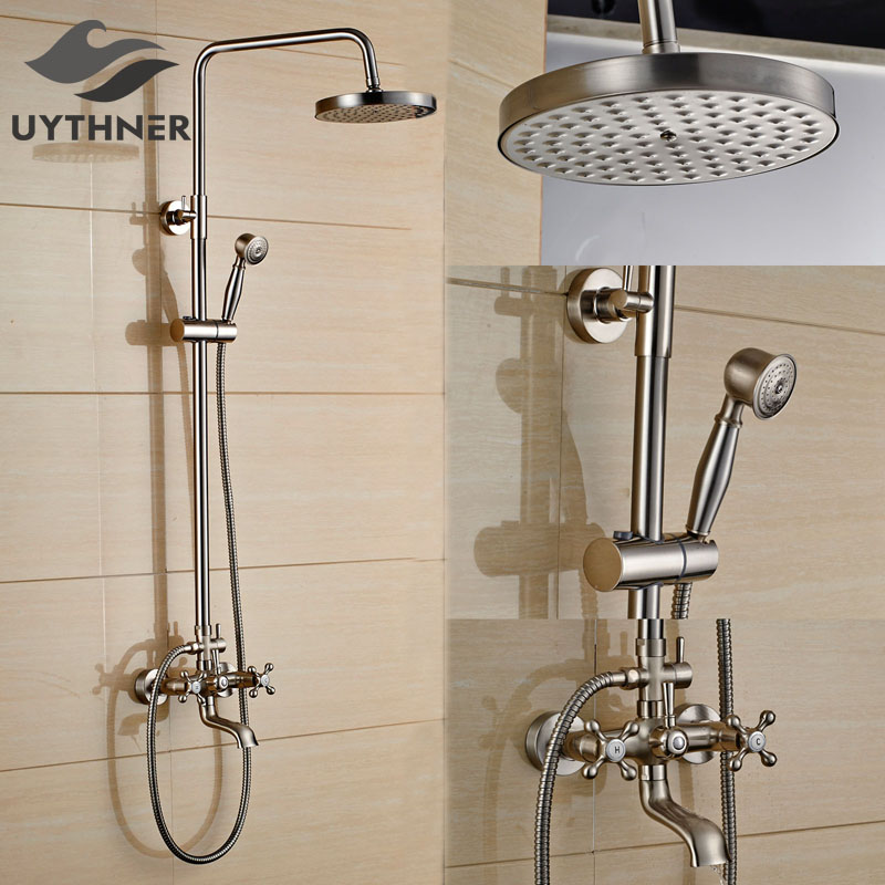 Newly US Free Shipping Nickel Brushed Bathroom Shower Faucet Set 8 Inch Shower Mixer Tap Wall