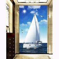 5d diy cross stitch kim cương bức tranh thêu phong cách địa trung hải thuyền buồm xanh tường sticker living trang trí phòng may vá