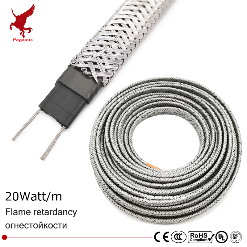 100m 220V 8mm Shielding Flame retardant heating cable Self-limiting temperature Water pipe protection Roof deicing Heating belt все цены