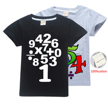 Genius Wisdom Tree Kids T Shirt School Maths Day Numbers and Symbol printing anime pure cotton tops boys girl clothes