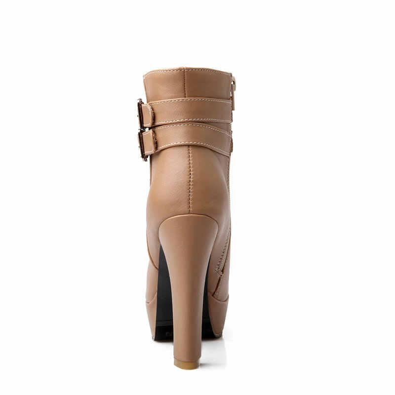 Bayan Faux Deri Rahat yarım çizmeler Platformu Yüksek Topuk Patik Kadın Moda Toka Kış Elbise Ayakkabı Siyah Beyaz