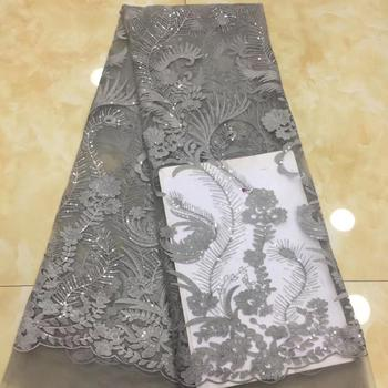 French Sequins Lace Fabric 5 yards Beautiful Nigerian Tulle Lace Fabric Fashion Nigerian Sequins Velvet lace fabric