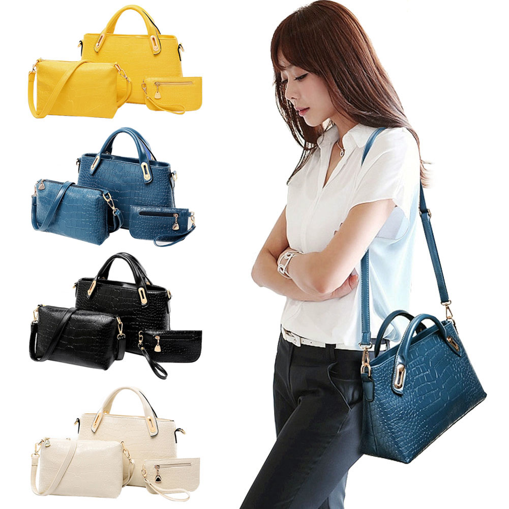 Fashion Women Handbags Sets PU Leather Handbag Women Messenger Bags Design Ladies Handbag+Shoulder Bag+Purse 3 Sets BS88